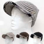 H5202 Plaid Trim with Button Knitted Warm Cap