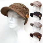 H5204 Wooden Button Warm Knitted Cap