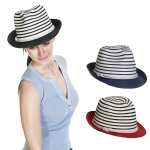 HC1047 Stripes & Rope Straw Fedora