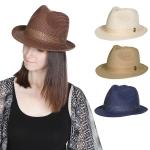 HY1026 Straw Fedora with Anchor Cham