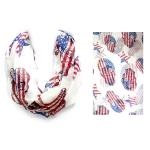IF00962 USA Flag Style Sugar Skull Infinity Scarf