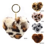 IKC133 Faux Fur Leopard Pattern Key Chain (DZ)