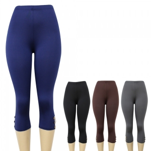 IP00002 Capri Leggings with Buttons and Lace