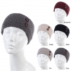 JB624 Solid Color & Crochet Pattern Headband with Two Buttons (DZ)
