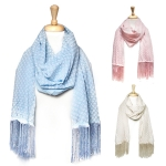 JC313 DAISY PRINTED SCARF WITH FRINGE