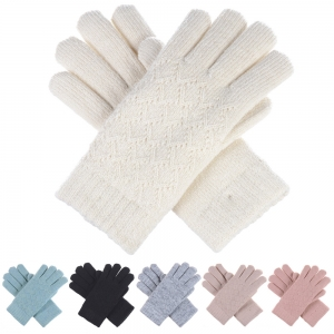 JG507C(JG507) Solid Color & Small Knitted Pattern Double Layered Gloves (DZ)