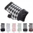 JG522 Houndtooth Pattern Finger-less Gloves (DZ)
