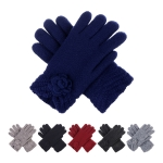 JG601 Solid Color w/Flower Pom Double Layered Gloves (DZ)