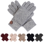 JG616 Crochet Pattern Double Layered Gloves with Button (DZ)