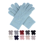 JG701 Solid Color & Knitted Pattern Double Layered Gloves (by Color/DZ)