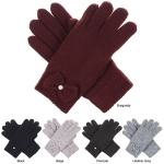 JG704 Solid Color with Bow-tie Ribbon Double Layer Gloves (DZ)