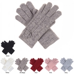 JG706 Cable Knit & Flower Pattern Double Layered Glove