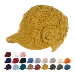 JH501 Solid Color Cable Knitted & Big Flower Double layered Hat (by Color/DZ)