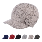 JH501 Solid Color Cable Knitted & Big Flower Double layered Hat (DZ)