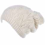 JH514 Crochet Double Layered Winter Hat,  Ivory 6 pcs in a pack)