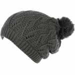 JH514 Crochet Double Layered Winter Hat, Olive (6 pcs in a pack)