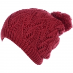 JH514 Crochet Double Layered Winter Hat, Red (6 pcs in a pack)