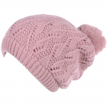 JH514 Crochet Double Layered Winter Hat, Pink