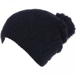 JH514 Crochet Double Layered Winter Hat, Black (6 pcs in a pack)
