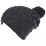 JH514 Crochet Double Layered Winter Hat,  Charcoal