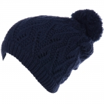 JH514 Crochet Double Layered Winter Hat,  Navy