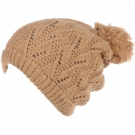 JH514 Crochet Double Layered Winter Hat, Camel (6 pcs in a pack)