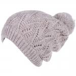 JH514 Crochet Double Layered Winter Hat, LT.Beige (6 pcs in a pack)