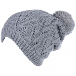 JH514 Crochet Double Layered Winter Hat, H.Grey (6 pcs in a pack)
