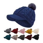 JH726 Solid Color Cable Knitted W/Pom Cap Hat (by Color/DZ)