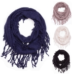 JS1020 Solid Infinity Scarf With Tassel