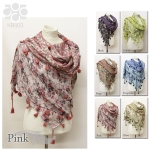 KB003 Reversible Flower Pattern Scarf With Tassel