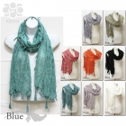 KB004 Solid Wrinkle Scarf with Tassel