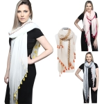 KK245 Multi Color Embroider Scarf W/ Tassel