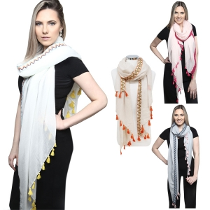 KK245 MULTI COLOR EMBROIDERED SCARF W/ TASSEL