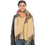 KK304 Warm Fabric Multi-colored Oblong Scarf, Beige