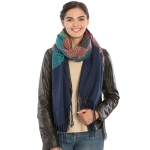 KK304 Warm Fabric Multi-colored Oblong Scarf, Blue