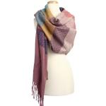 KK304 Warm Fabric Multi-colored Oblong Scarf, Purple