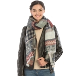 KK306 Colorful Bohemian Pattern Long Scarf, Black