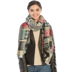 KK306 Colorful Bohemian Pattern Long Scarf, Green