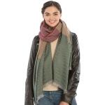 KK308 Warm Fabric Striped Oblong Scarf with Tassel, Green