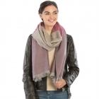 KK308 Warm Fabric Striped Oblong Scarf with Tassel, Purple