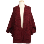KK311 Loose-fit Ruana and Cape with Pockets, Red