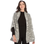 KK311 Loose-fit Ruana and Cape with Pockets, Ivory