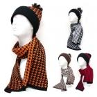 KKH206 Houndstooth Hat & Scarf Set