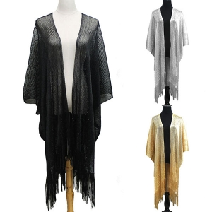 KM8123 Metallic Kimono Cover Up