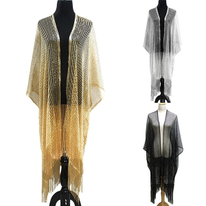 KM8124 Lined Metallic Kimono Cover Up