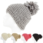KSH105 Slouchy Knitted Pompom Beanie