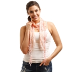 LOF270 Skinny Lace Oblong Scarf, Coral