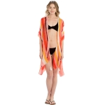 LOF800 Multi Color Striped Cover-up, Red