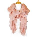 LOF805 Shimmer Ruffled Oblong Scarf, Pink